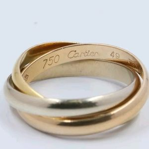 Cartier Trinity Ring, size 49 (4.75-5). 3 bands.